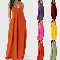 Women Summer Boho V Neck Long Dress Casual Evening Pocket Loose Party Maxi Dress $15.99