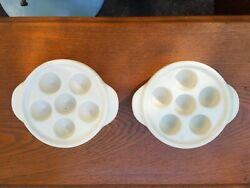 Set of 2 HALL #8613 Vintage White Ceramic Escargot Mushroom Baking Dish USA