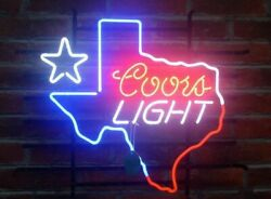 Coors Light Texas Lone Star Neon Sign Lamp Light 17x14 Beer Bar With Dimmer