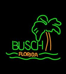 Busch Florida With Palm Tree Neon Sign Lamp Light 17x14 Beer Bar With Dimmer