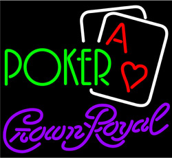 Crown Royal Green Poker Aces 20x16 Neon Sign Light Lamp Beer Bar With Dimmer