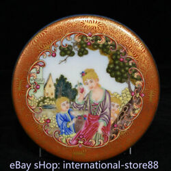 4.6 Marked Old Chinese Enamel Painted Porcelain Dynasty Western Characters Box