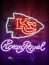Kansas City Chiefs Crown Royal 20x16 Neon Sign Light Glass With Dimmer