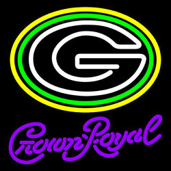 Green Bay Packers Crown Royal 20x16 Neon Sign Light Glass With Dimmer