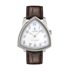 Paccioni Al Capone 51mm S Steel White Mother Of Pearl Brown Leather Strap Watch