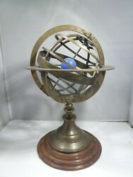 Vintage Mid Century Brass And Walnut Orrery Showing Signs Of The Zodiac