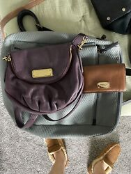 MARC JACOBS Q NATASHA Wine Leather Crossbody Michael Kors Wallet Kate Spade Tote $200.00