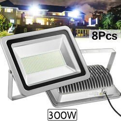 8x 300w Led Flood Light Cool White Camping Outdoor Lighting Security Wall Lamp