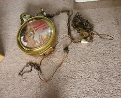 Budweiser Beer Electric Pocket Watch Style Clock Lighted Lady Photo11.4lbs