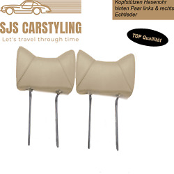 Headrests Rabbit Ear Pair Left And Right For Mercedes Parchment Rear Real Leather