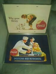 2 Coke Coca Cola T.v. Trays Advertising Sign Tops Hard To Find Soda Pop