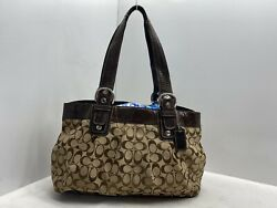 USED COACH LARGE SIGNATURE TOTE BAG BROWN F13743 $29.95