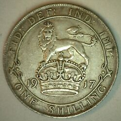 1917 Great Britain Silver Shilling Coin Extra Fine Circulated United Kingdom Xf