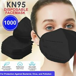 Black 5layers Breathable Kn95 Disposable Protective Face Mask Respirator 1000pcs