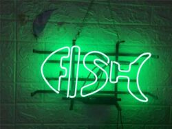 Green Fish 17x10 Neon Sign Light Lamp Beer Bar With Dimmer