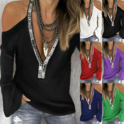 Women Long Sleeve V Neck Cold Shoulder Blouse Casual Loose Tunic Tops T Shirt $12.99