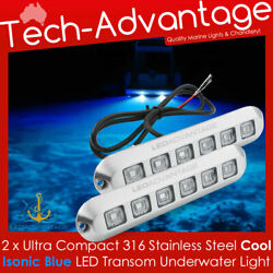 2 X 12v 18w Stainless Steel Blue Led Submersible Underwater Boat Transom Lights