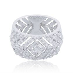Natural 1.7 Ct Si Clarity Hi Color Diamond Pave Band Ring 18k White Gold Jewelry
