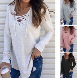 Women V Neck Long Sleeve T Shirt Casual Criss Cross Blouse Loose Drawstring Tops $12.99