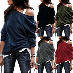 Women Sexy Off Shoulder Long Sleeve T Shirts Tops Casual Pullover Loose Sweater $11.43