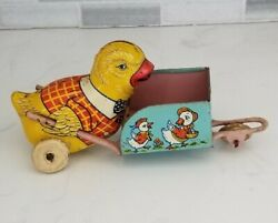 J. Chein Made In Usa Easter Chick With Cart Wheelbarrow Vintage Antique Tin Toy