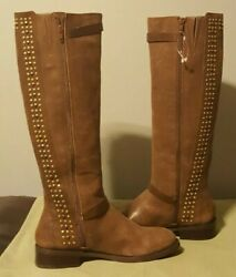 NEW JESSICA SIMPSON ELLISTER STUDDED LEATHER EQUESTRIAN BROWN RIDING BOOTS 7.5 M $64.99