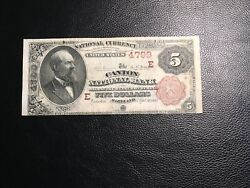 National Bank Note Canton Maryland 1 Of 4 5.00 Bb Known See Description