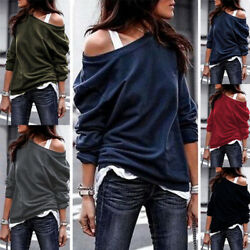 Women Long Sleeve Cold Shoulder Solid T Shirt Casual Loose Blouse Tunic Lot Tops $12.99