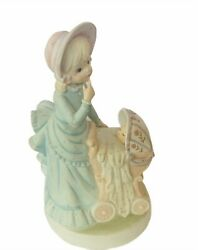 Lefton Music Box Figurine Rock A Bye Baby 1983 Vtg Christopher Collection Mother