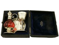 Antique Victorian 1870s Sterling Silver Gilt And Cranberry Glass Communion Set