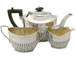 Sterling Silver Three Piece Tea Set - Queen Anne Style - Antique Edwardian