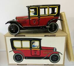 Vintage Tin Lithographed Clockwork Wind-up Paya Spain I-863 Taxi Car With Driver