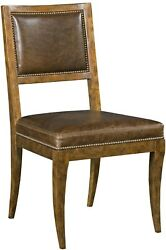 Dining Side Chair Woodbridge Brown Leather Wood Sonoma Brass Nail Heads