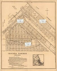 Chicago Area Antique 1901 Ad Map Indiana Harbor, East Chicago, Indiana Repro