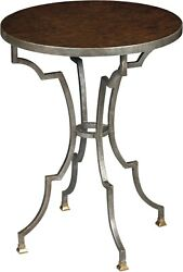 Scarborough House End Table Myrtle Burl Geometric Silver Base Brass Round