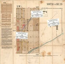Chicago Antique 1884 Map Of Little Village [part Of] Smallpox And Bridewell Repro