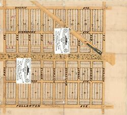 Chicago Antique 1873 Map Of Logan Square [part Of] Maplewood's 2 Subs Repro