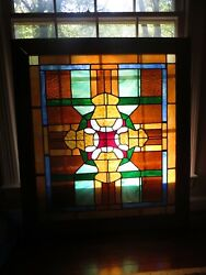 Large Framed Stained Glass Window 38 1/2 By 43 1/2 Local Pick Up Only