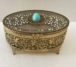 Vintage Oval Ormalu Jewelry Box Gold Beveled Glass Top