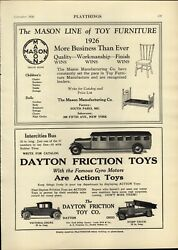 1926 Paper Ad Dayton Friction Toy Dump Truck Trolley Cars Victoria Coupe