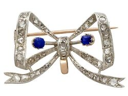 Antique French 0.45ct Sapphire And 0.93ct Diamond Yellow Gold Bow Brooch