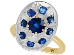 0.85ct Sapphire And 18ct Yellow Gold Dress Ring - Vintage Circa 1950 - Size K