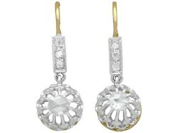 1910's Antique French 0.26 Ct Diamond 18k Yellow Gold Drop Earrings