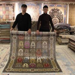 Yilong 5and039x7.5and039 Four Seasons Hand Craft Silk Rugs Home Hand-knotted Carpets 0181