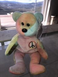 Ty Beanie Baby Peace Bear With Errors. 60 Goes To Homeless Kids Of America