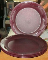 New Set Of 4 Round Tupperware Plates-ruby Redish With Sparkles