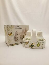 Antique Countryside Pear Mikasa Salt And Pepper Saker With Caddy