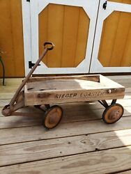 Vintage Rare Wood Steger Coaster Wagon Toy Used See Condition As Is