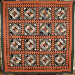 Outstanding Vintage 1910and039s Hourglass Antique Quilt Nice Flying Geese Borders