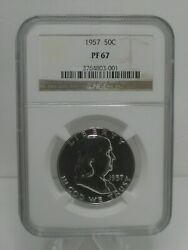 1957 Us Franklin Silver Half Dollar 50c Ngc Pf67 Proof Collector Coin.